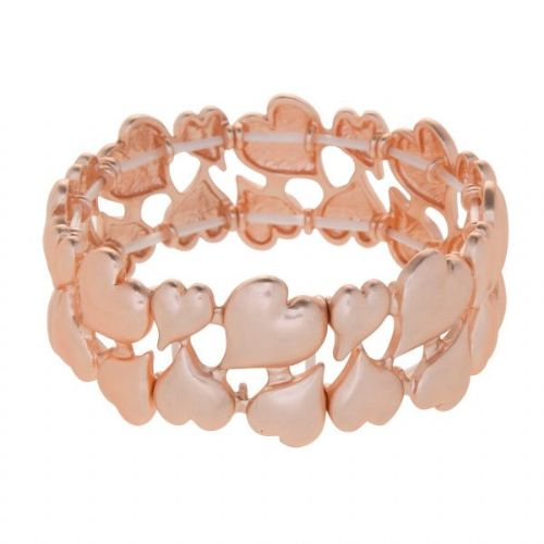 Rose Gold Elasticated Bangle with Small Hearts